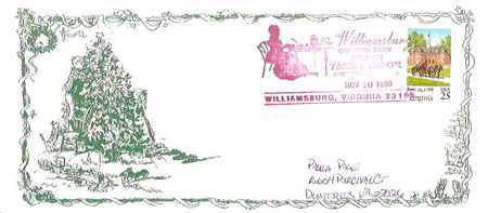 The WILLIAMSBURG CHRISTMAS SHOW COMMERATIVE POSTAL COVER