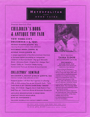 METROPOLITAN BOOK FAIRS PRESENTS America's First Children's Book & Antique Toy Fair