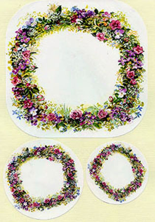 SUMMER WREATH STICKERS; - SET OF THREE SIZES