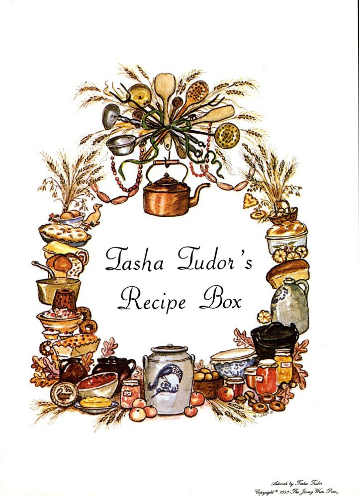 TASHA'S RECIPE BOX LABEL. Tasha Tudor.