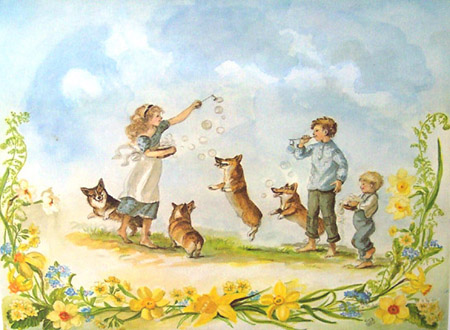 BLOWING BUBBLES. Tasha Tudor.