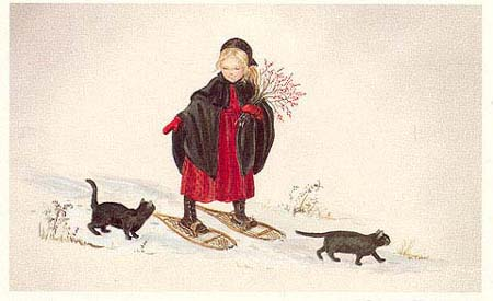 LAURA IN THE SNOW. Tasha Tudor.
