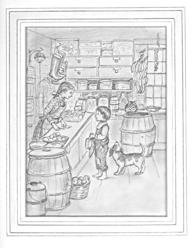 """General Store."" Pencil drawing of a country store. Tasha Tudor."