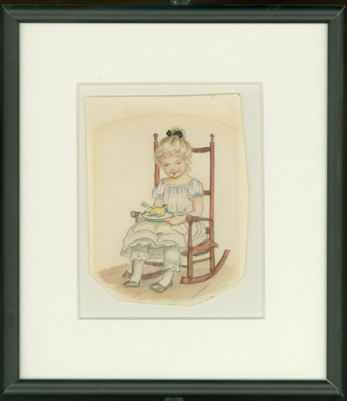 GIRL IN ROCKING CHAIR HOLDING THE CANARY from THISTLY B, page [11]; Original art from Thistly B. Tasha Tudor.