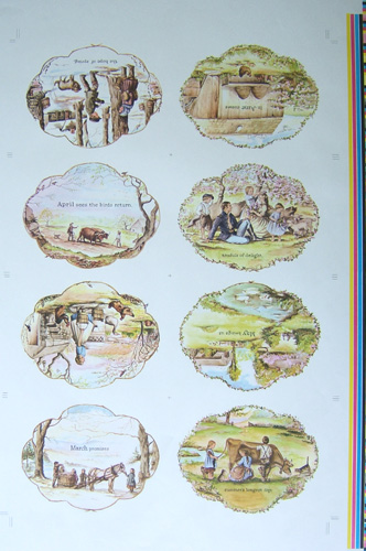 """AROUND THE YEAR [proof sheet] """"...the hope of Spring.""""; 16 pages Proof Sheet. Tasha Tudor."""