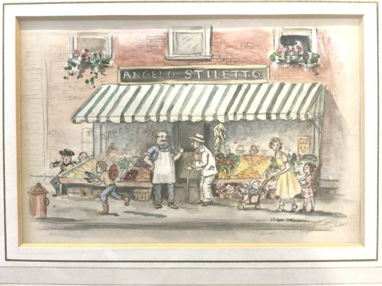 """"""" I'll miss the tender lettuce and other delicious scraps from Angelo Stiletto's vegetable stand on Center Street"""". ORIGINAL ART FROM BIGGITY BANTAM"""