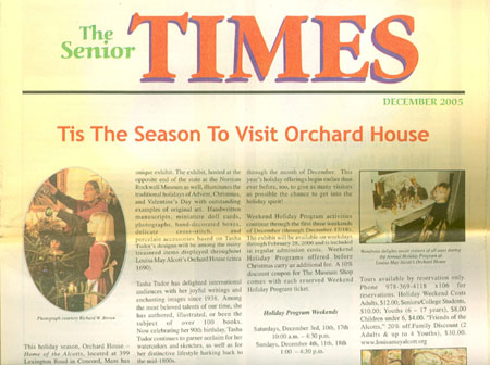 The SENIOR TIMES DECEMBER 2005; Tis the Season to Visit Orchard House