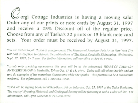 CORGI COTTAGE INDUSTRIES IS HAVING A MOVING SALE!