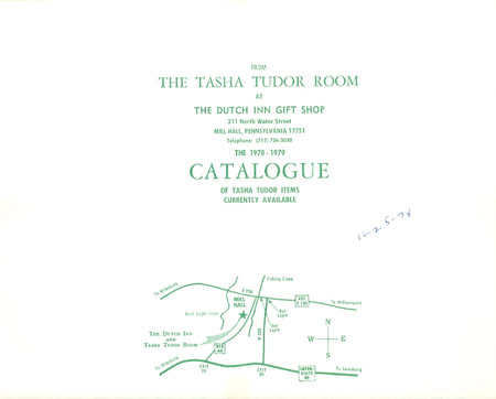 FROM THE TASHA TUDOR ROOM AT THE DUTCH INN GIFT SHOP . . . THE 1978-1979 CATALOGUE OF TASHA TUDOR ITEMS CURRENTLY AVAILABLE