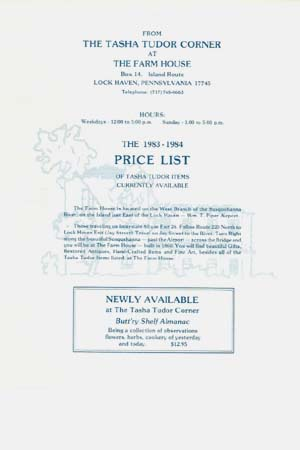 The 1983-1984 PRICE LIST OF TASHA TUDOR ITEMS CURRENTLY AVAILABLE. The Tasha Tudor Corner at The Farm House, Mary McDonough.