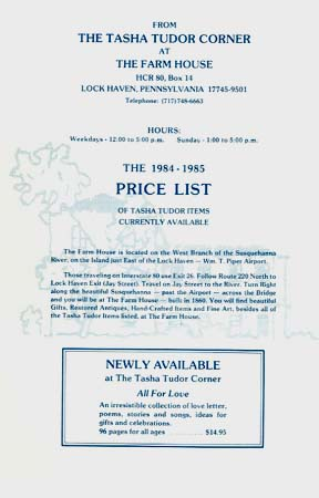 The 1984-1985 PRICE LIST OF TASHA TUDOR ITEMS CURRENTLY AVAILABLE. The Tasha Tudor Corner at The Farm House, Mary McDonough.
