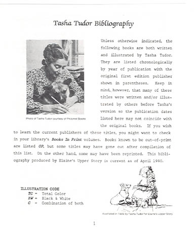 [THE LETTER] TASHA TUDOR BIBLIOGRAPHY. Elaine Hollabaugh.