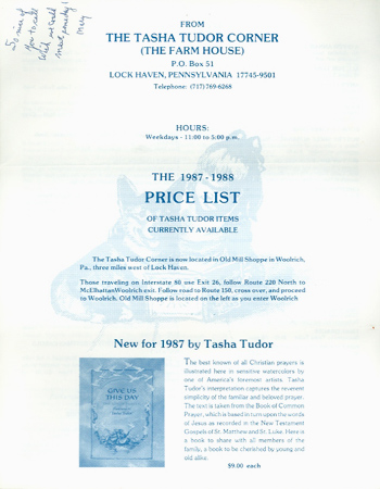 The 1987-1988 PRICE LIST OF TASHA TUDOR ITEMS CURRENTLY AVAILABLE. The Tasha Tudor Corner, The Farm House, Mary McDonough.