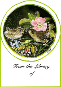 MOTHER WREN STICKER/BOOK PLATE