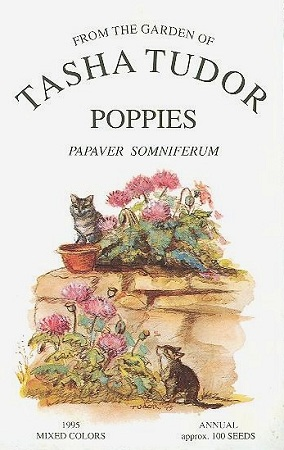 FROM THE GARDEN OF TASHA TUDOR, POPPIES PAPAVER SOMNIFERUM. FLOWER SEED PACKETS, 1995