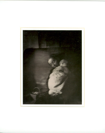 TASHA AND BABY [matted print]. Nell Dorr.