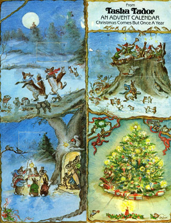 FROM TASHA TUDOR AN ADVENT CALENDAR CHRISTMAS COMES BUT ONCE A YEAR. Tasha Tudor.