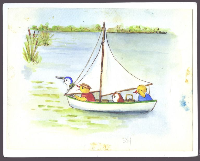 """SKIDDYCOCK POND, page [23]. """"Gweek grabbed Samuel's telescope and rushed to the side of the boat."""" Bethany Tudor."""