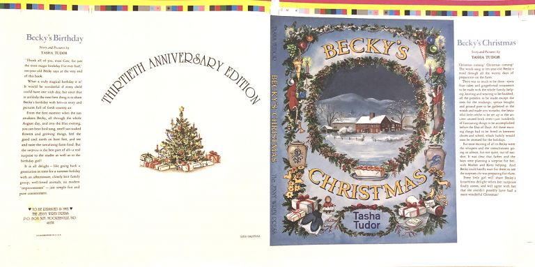 BECKY'S CHRISTMAS [Dust jacket for thirtieth anniversary edition]; Proof Sheet. Tasha Tudor.