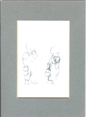 FROM TASHA TUDOR'S SKETCHBOOK: 2 SKETCHES OF BOY WITH LUNCHBOX EATING COOKIE. Tasha Tudor.