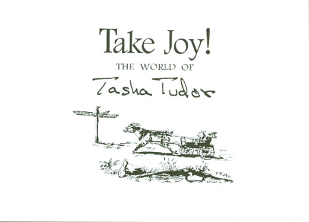 TAKE JOY! THE WORLD OF TASHA TUDOR MENU. Williamsburg Institute.
