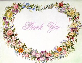 "JWP CO 90a B FLORAL HEART ""THANK YOU"" CARDS"