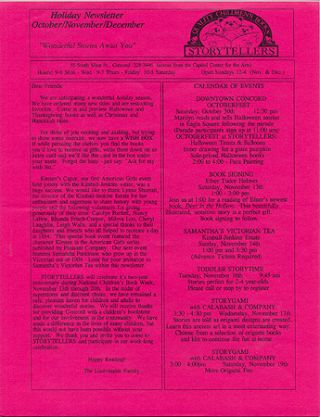 STORYTELLERS HOLIDAY NEWSLETTER October/November/December [1993