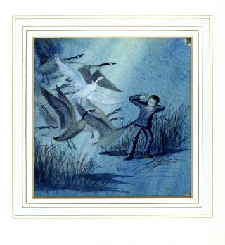 """THEN ALL THE GEESE ROSE INTO THE AIR..."" ORIGINAL ART FROM THE WHITE GOOSE"