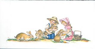 "Art in Correspondence [2] "" Children with 4 bunnies"""