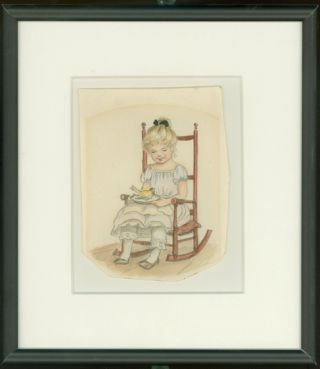 GIRL IN ROCKING CHAIR HOLDING THE CANARY from THISTLY B, page [11]; Original art from Thistly B....