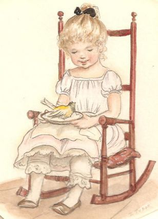 GIRL IN ROCKING CHAIR HOLDING THE CANARY from THISTLY B, page [11]; Original art from Thistly B