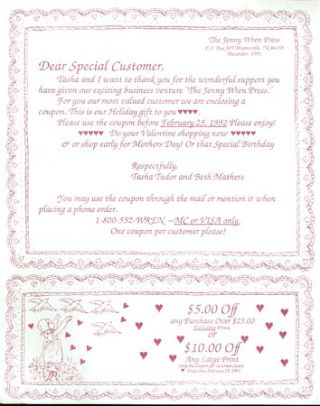 DEAR SPECIAL CUSTOMER, LETTER AND COUPONS FROM JENNY WREN PRESS