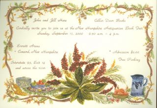 INVITATION TO THE NEW HAMPSHIRE ANTIQUARIAN BOOK FAIR. John and Jill Hare