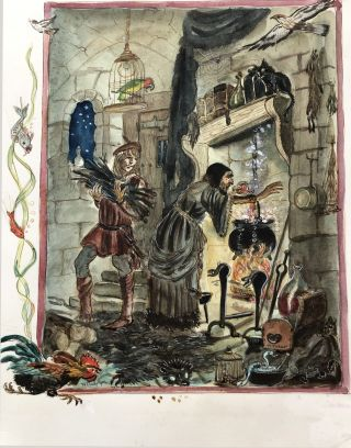 """The Sorcerer's Apprentice"" ORIGINAL ART FROM TASHA TUDOR'S BEDTIME BOOK"