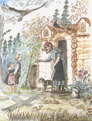 """Hansel and Gretel"" ORIGINAL ART FROM TASHA TUDOR'S BEDTIME BOOK"