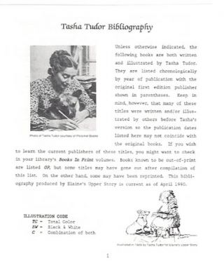 THE LETTER] TASHA TUDOR BIBLIOGRAPHY FROM ELAINE'S UPPER STORY. Elaine Hollabaugh