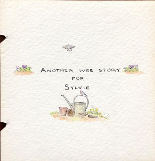 "1938 ORIGINAL ART FROM ALEXANDER THE GANDER Tudor's 2nd book; "" Another wee story for Sylvie"""