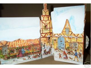 CHRISTMAS VILLAGE; : A THREE DIMENSIONAL ADVENT CALENDAR WITH 24 WINDOWS AND DOORS TO OPEN - FROM DECEMBER 1ST TO CHRISTMAS EVE!