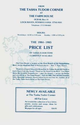 The 1984-1985 PRICE LIST OF TASHA TUDOR ITEMS CURRENTLY AVAILABLE. The Tasha Tudor Corner at The...