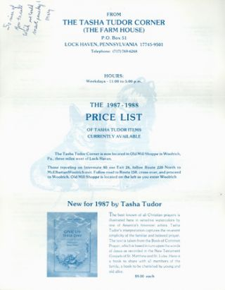 The 1987-1988 PRICE LIST OF TASHA TUDOR ITEMS CURRENTLY AVAILABLE. The Tasha Tudor Corner, The...