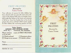 FIRST PRAYERS, Ad sheet. Tasha Tudor