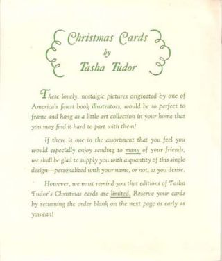 CHRISTMAS CARDS BY TASHA TUDOR [1951] IRENE DASH GREETING CARD ORDER FORM