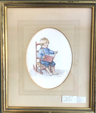 BOY IN A ROCKING CHAIR, READING and GIRL CUDDLING HER DOLL, IN A ROCKING CHAIR 2 Pieces to be sold together