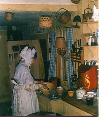 Photo of Tasha Tudor in Her Kitchen
