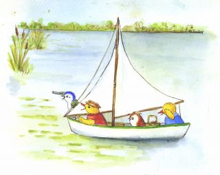 """SKIDDYCOCK POND, page [23]. """"Gweek grabbed Samuel's telescope and rushed to the side of the boat."""""""