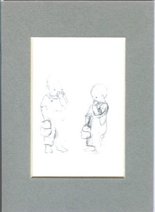 FROM TASHA TUDOR'S SKETCHBOOK: 2 SKETCHES OF BOY WITH LUNCHBOX EATING COOKIE. Tasha Tudor