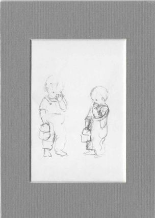FROM TASHA TUDOR'S SKETCHBOOK: 2 SKETCHES OF BOY WITH LUNCHBOX EATING COOKIE