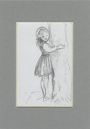 FROM TASHA TUDOR'S SKETCHBOOK: GIRL HUGGING TREE. Tasha Tudor.