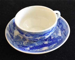 ANTIQUE CHILD'S BLUE WILLOW CUP & SAUCER