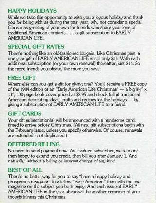 HAPPY HOLIDAYS [Early American Life advertisement]